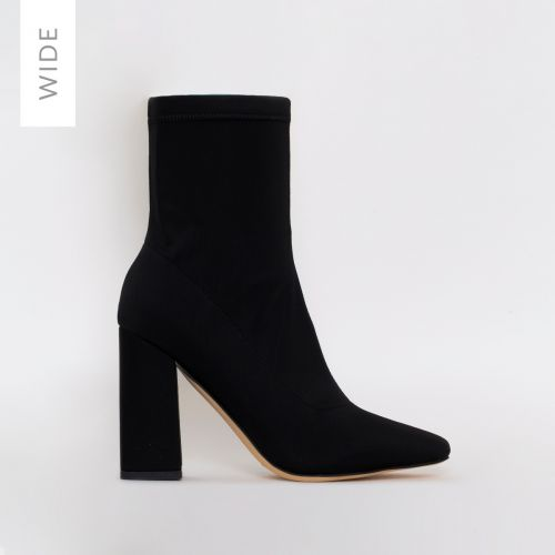 Isla Wide Fit Black Lycra Block Heel Ankle Boots