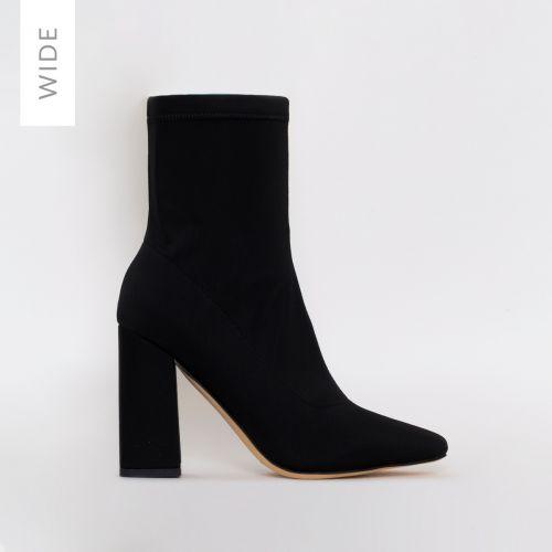 Isla Wide Fit Black Lycra Block Heel Ankle Boots