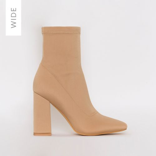 Isla Wide Fit Beige Lycra Block Heel Ankle Boots