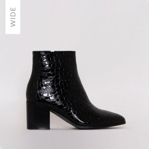 Anya Wide Fit Black Patent Croc Block Heel Ankle Boots