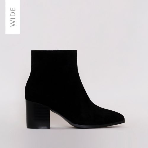 Anya Wide Fit Black Suede Block Heel Ankle Boots