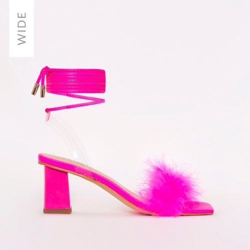 Dazy Wide Fit Hot Pink Snake Print Fluffy Lace Up Mid Block Heels