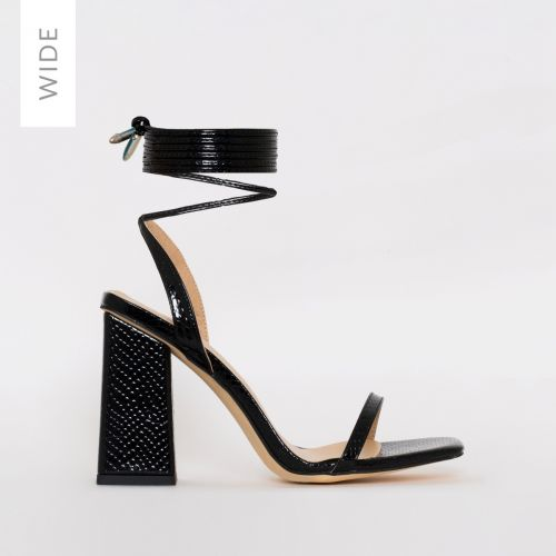 Nina Wide Fit Black Patent Snake Print Lace Up Block Heels