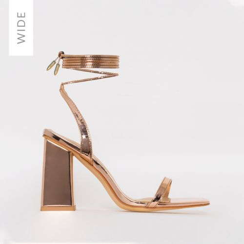 Nina Wide Fit Rose Gold Lace Up Block Heels