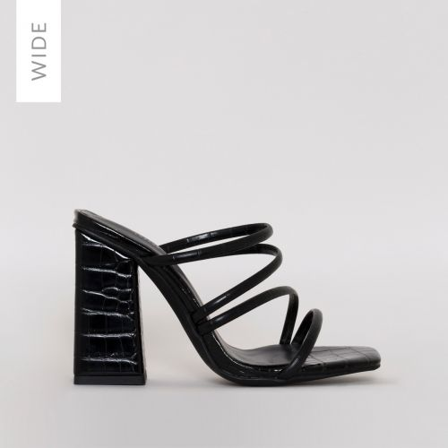 Kamilla Wide Fit Black Croc Strappy Mules