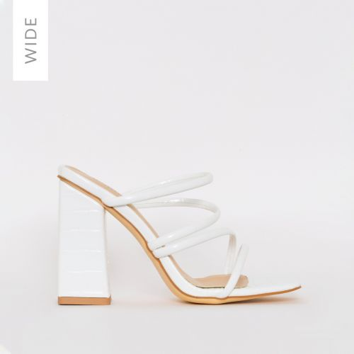 Kamilla Wide Fit White Croc Strappy Mules