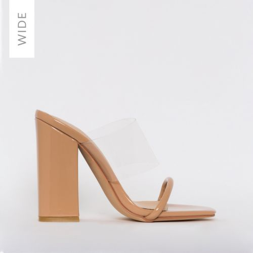 Carissa Wide Fit Nude Patent Clear Block Mules