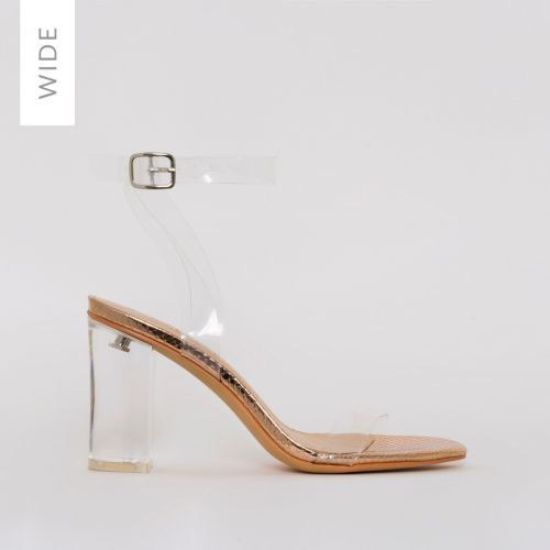 Kimana Wide Fit Rose Gold Snake Print Clear Mid Block Heels