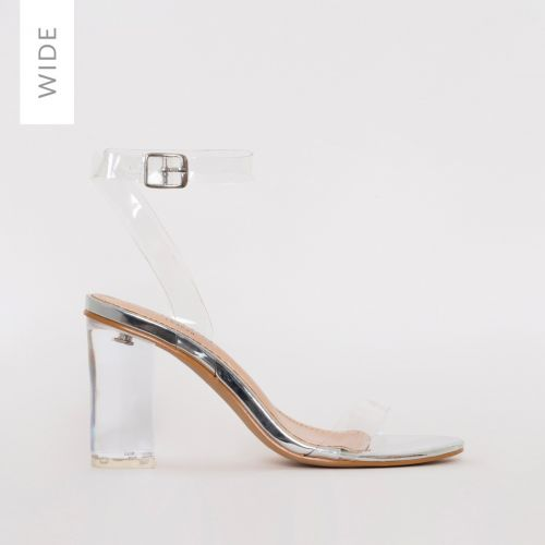 Kimana Wide Fit Silver Clear Mid Block Heels