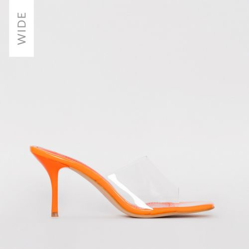 Elise Wide Fit Orange Clear Mid Heel Mules