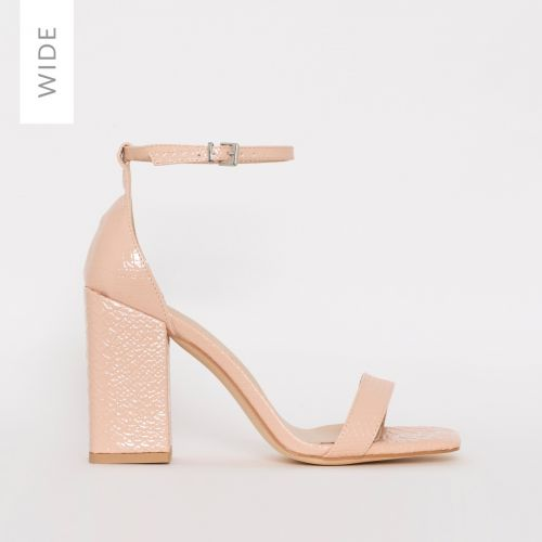 Sharna Wide Fit Nude Patent Python Print Block Heels