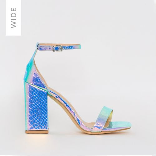 Sharna Wide Fit Rainbow Snake Print Mid Block Heels
