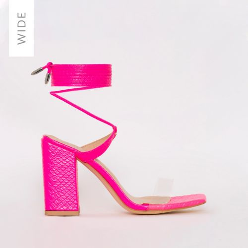 Ruby Wide Fit Pink Patent Croc Print Clear Lace Up Mid Block Heels