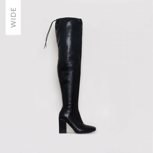 Rochelle Wide Fit Black Croc Print Thigh High Boots