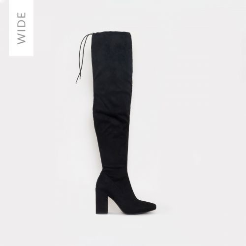 Rochelle Wide Fit Black Suede Thigh High Boots