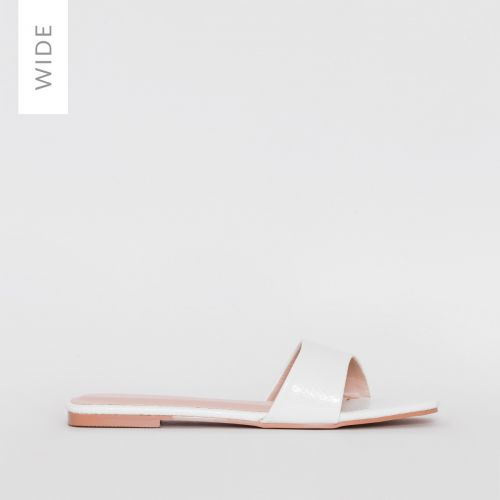 Lola Wide Fit White Faux Snake Print Sliders