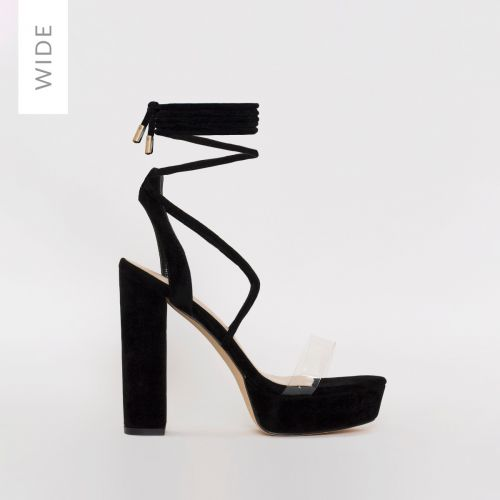 Paige Wide Fit Black Suede Platform Lace Up Heels