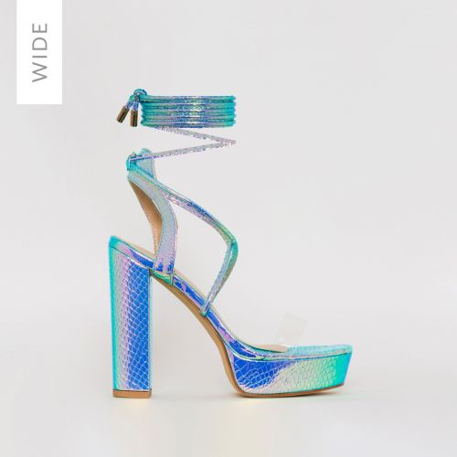 Paige Wide Fit Rainbow Snake Print Platform Lace Up Heels