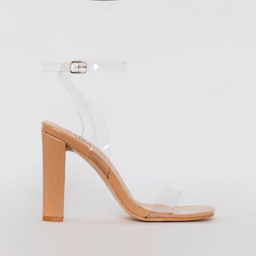 Dymond Nude Patent Clear Block Heels