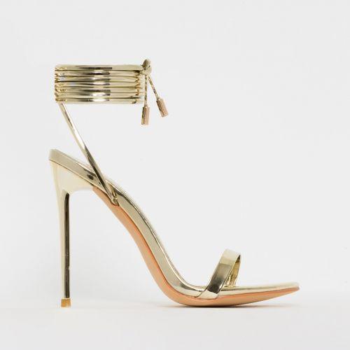 Whitney Gold Mirror Tie Up Stiletto Heels