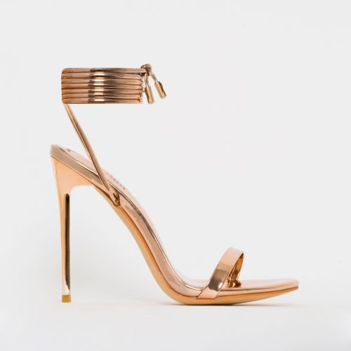 Whitney Rose Gold Mirror Tie Up Stiletto Heels