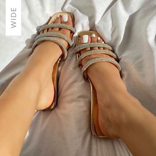Roma Wide Fit Rose Gold Mirror Diamante Sandals