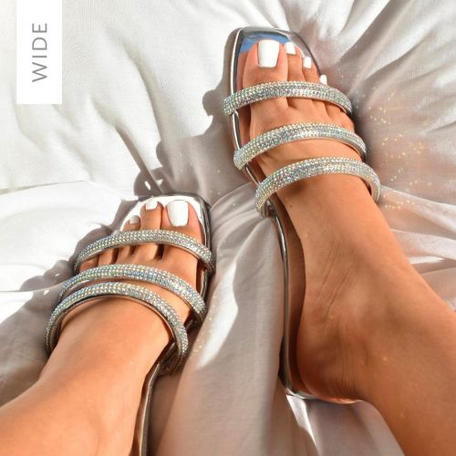 Roma Wide Fit Silver Mirror Diamante Sandals