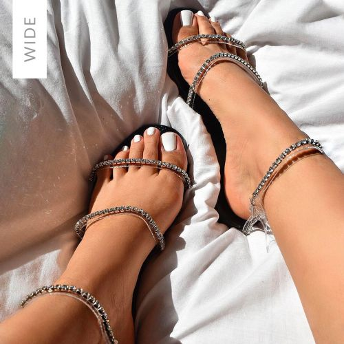 Louisa Wide Fit Black Faux Snake Print Diamante Sandals