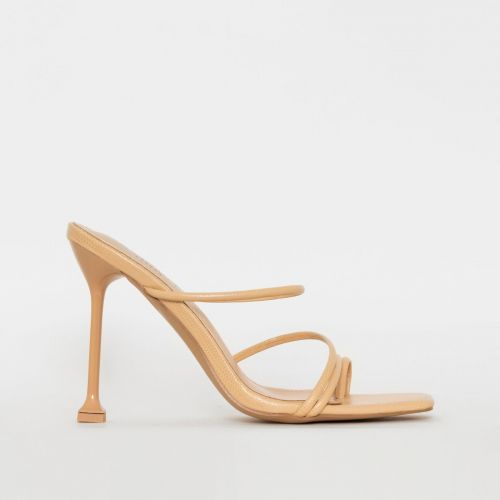 Mariana Nude Snake Print Strappy Mule Heels