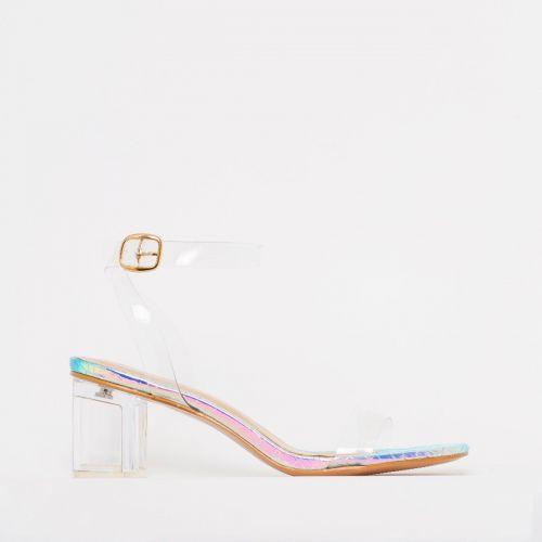 Koko Rainbow Snake Print Clear Mid Block Heels