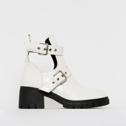 Zelda White Croc Print Cut Out Chunky Ankle Boots