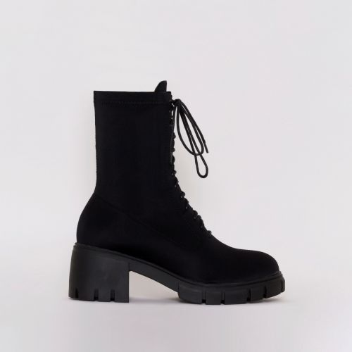 Briana Black Lycra Lace Up Ankle Boots