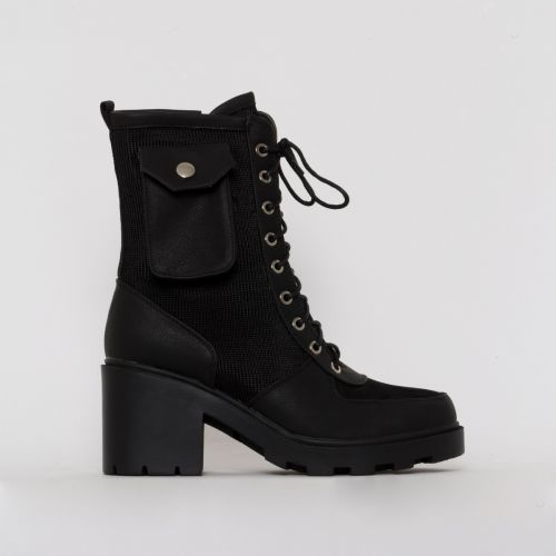 Charlie Black Mesh Pocket Ankle Boots