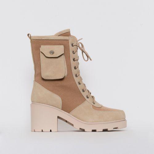Charlie Camel Mesh Pocket Ankle Boots