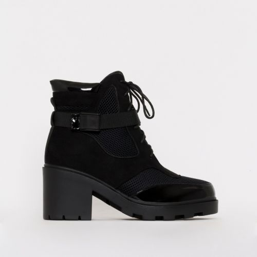 Carter Black Mesh Lace Up Ankle Boots