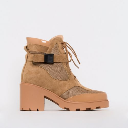 Carter Beige Mesh Lace Up Ankle Boots