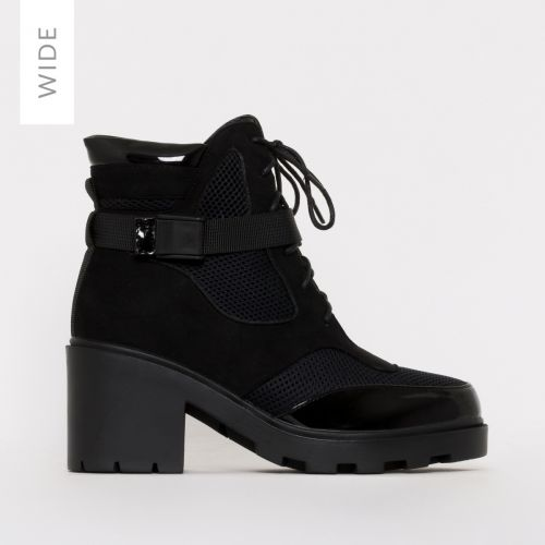 Carter Wide Fit Black Mesh Lace Up Ankle Boots