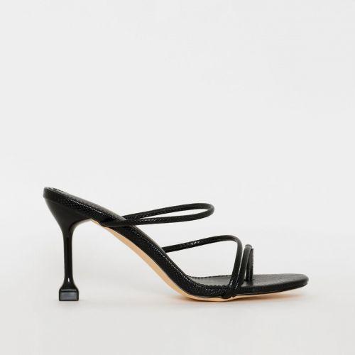 Jada Black Snake Print Strappy Mid Heels