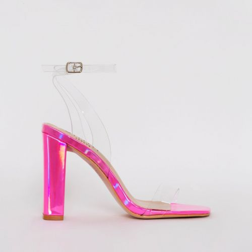 Dymond Pink Iridescent Clear Block Heels