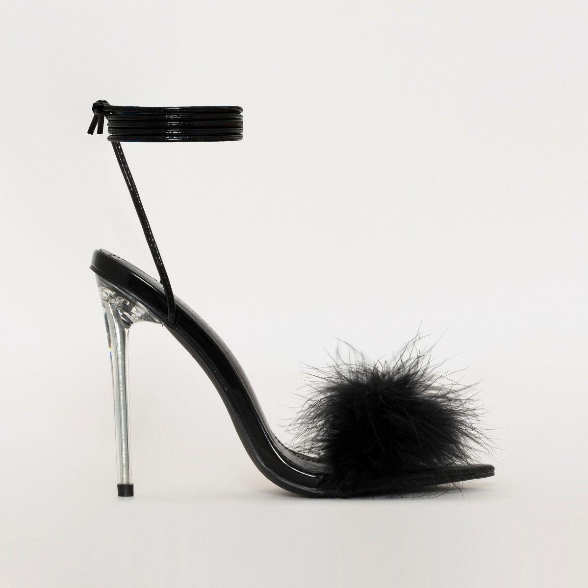 Obey Fluffy Black Patent Lace Up