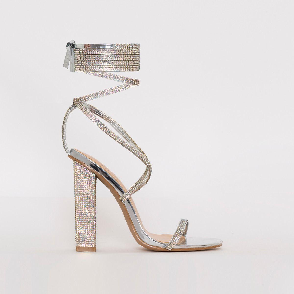 Silver Diamante Heels