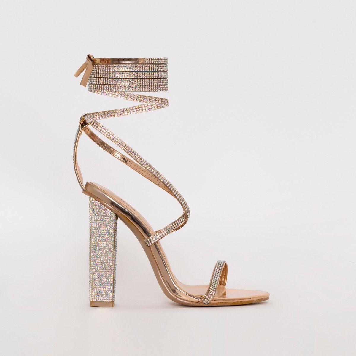 Aisha Rose Gold Mirror Lace Up Diamante
