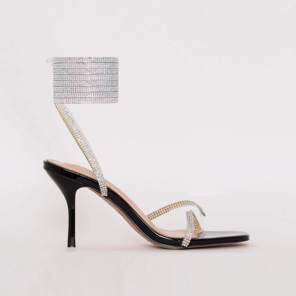 black diamante mid heel shoes