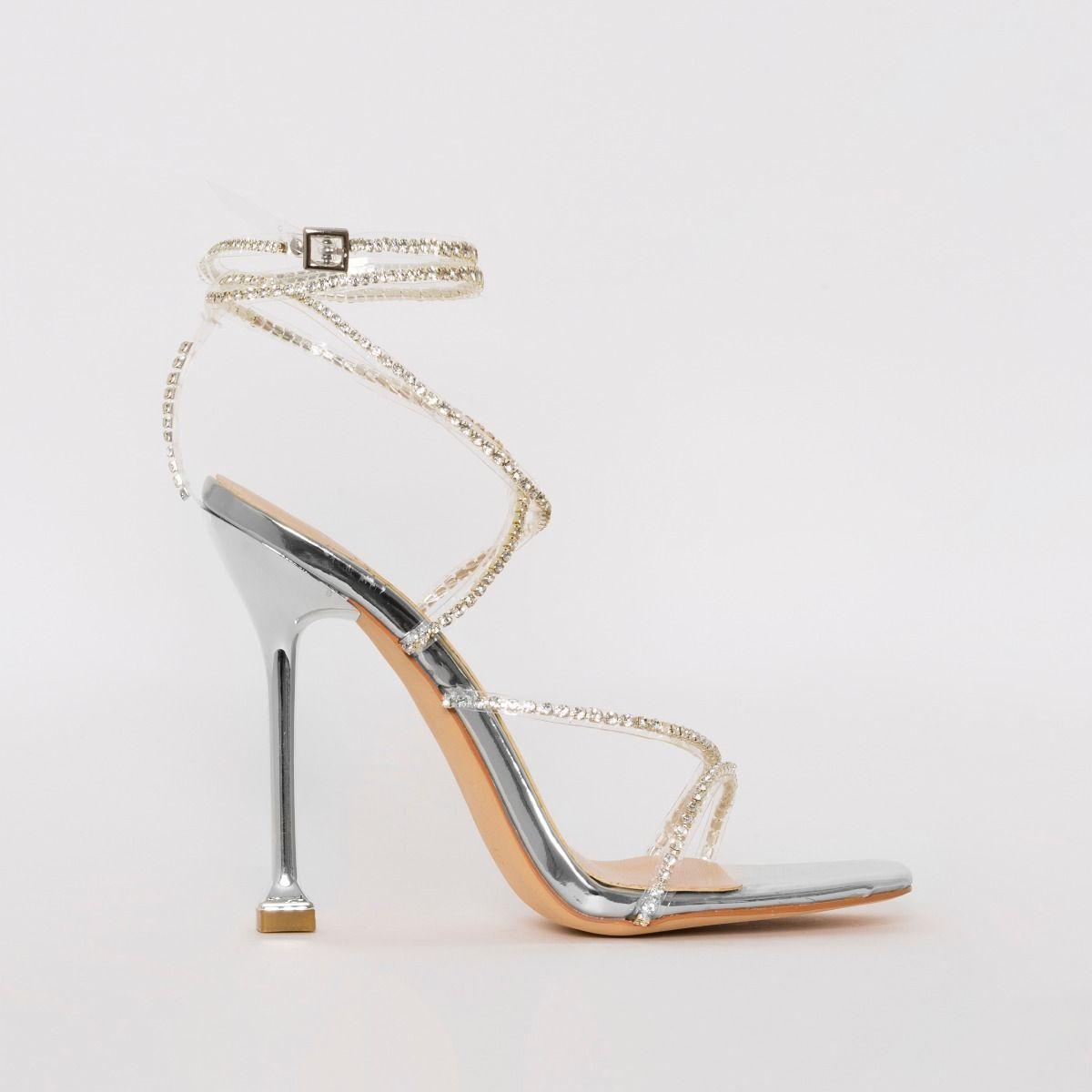 Chantel Silver Clear Diamante Strappy Heels