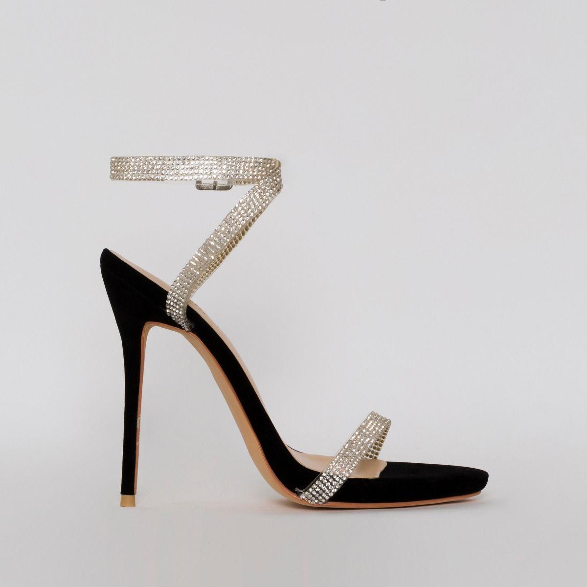 Savannah Black Suede Clear Diamante Heels