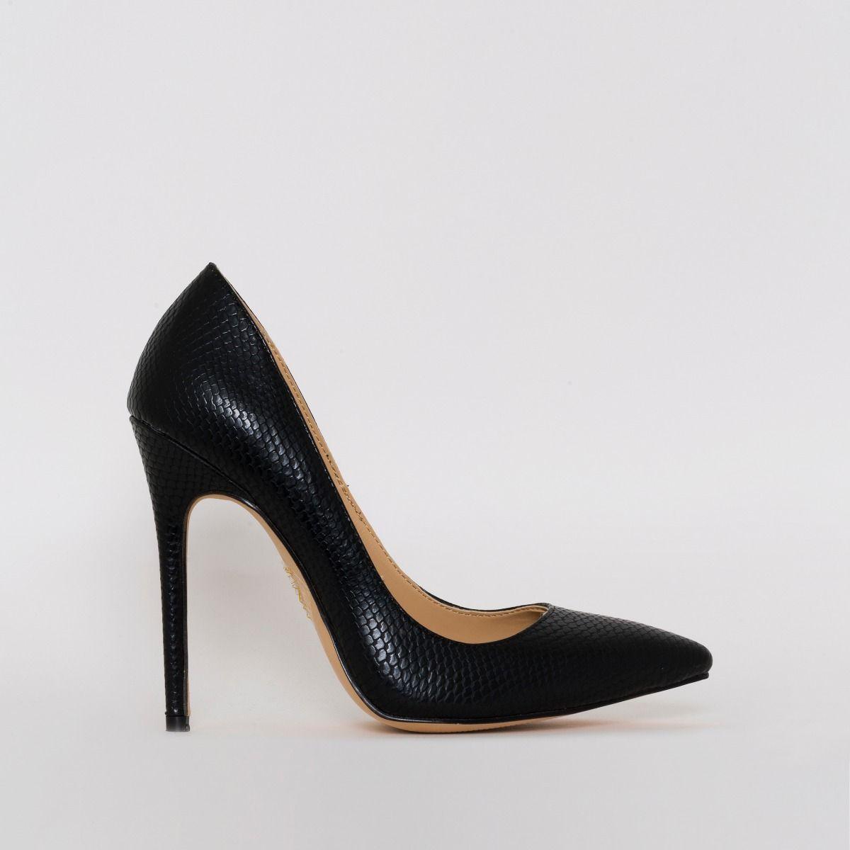 black stiletto court heels