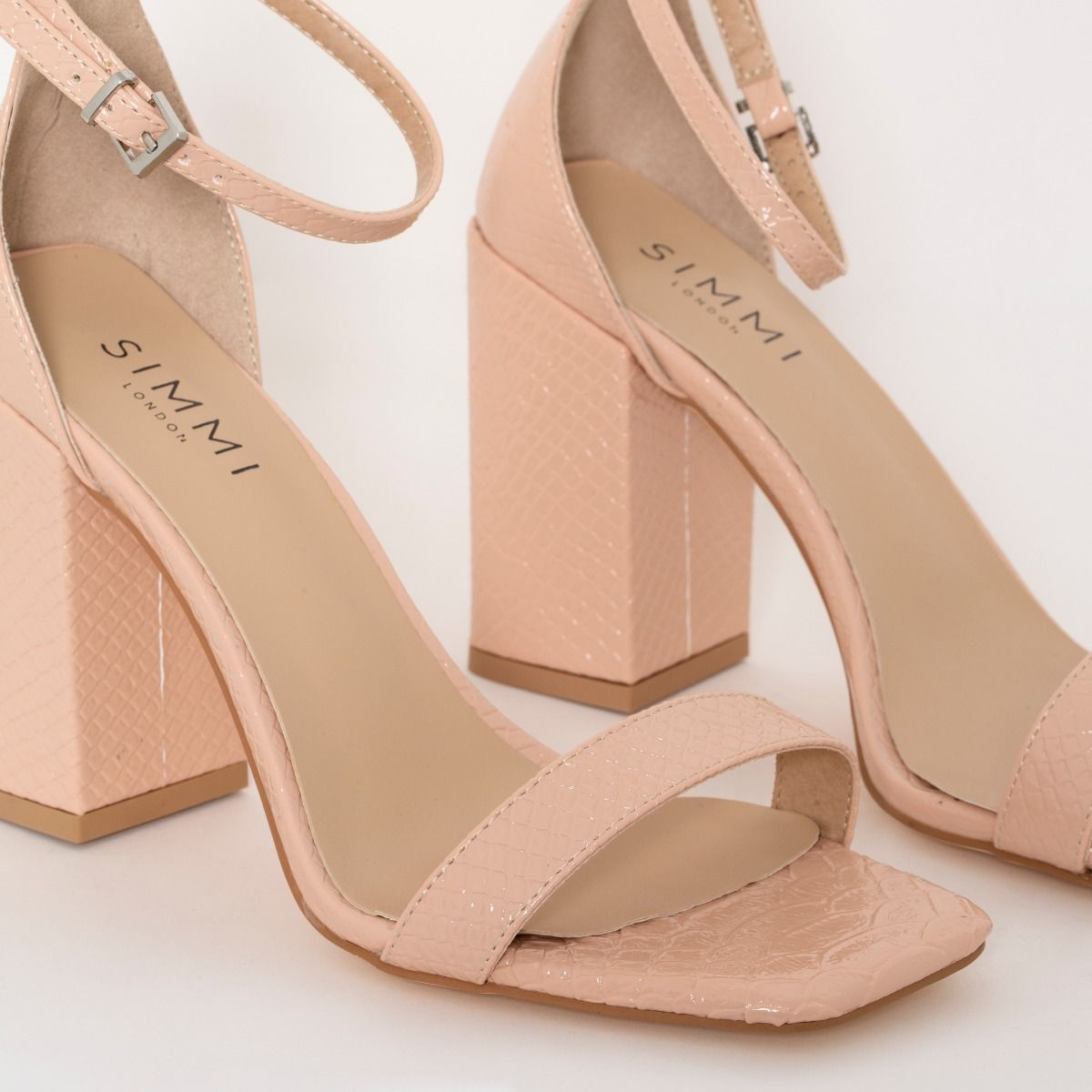 Sharna Wide Fit Nude Patent Python