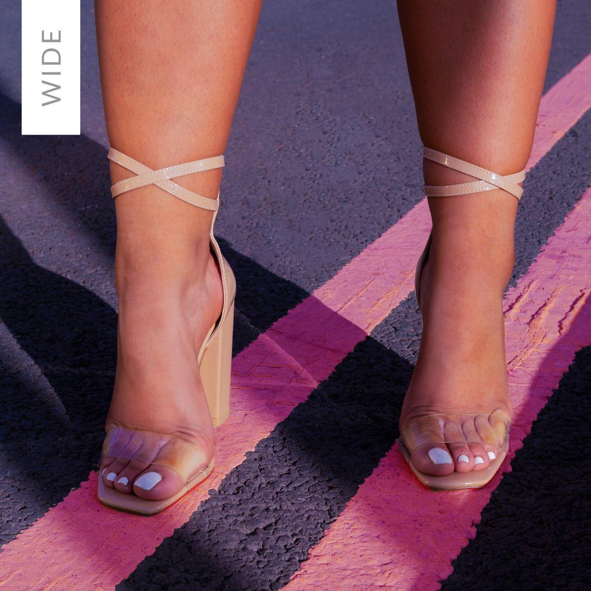 Fiona Wide Fit Nude Patent Block Heels