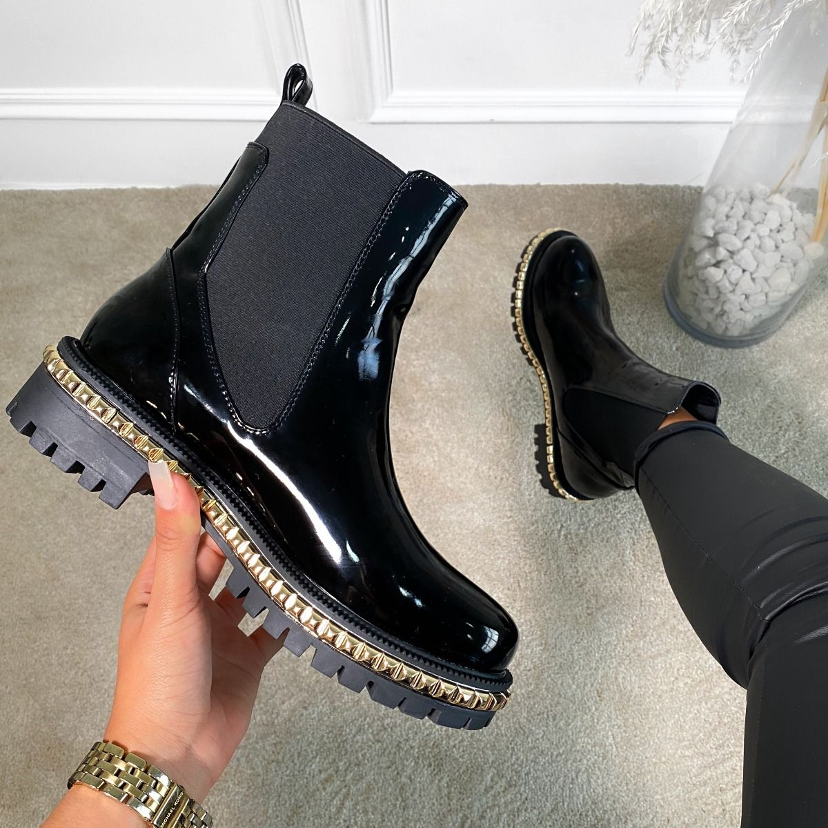 Clover Black Patent Studded Ankle Boots