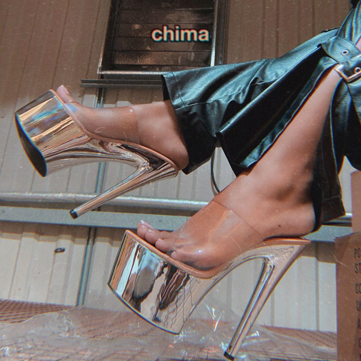 Chima Clear Nude Patent Platform Mules